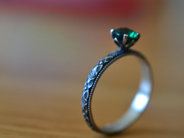 Customised Emerald Engagement Ring in Gothic Oxidised Silver