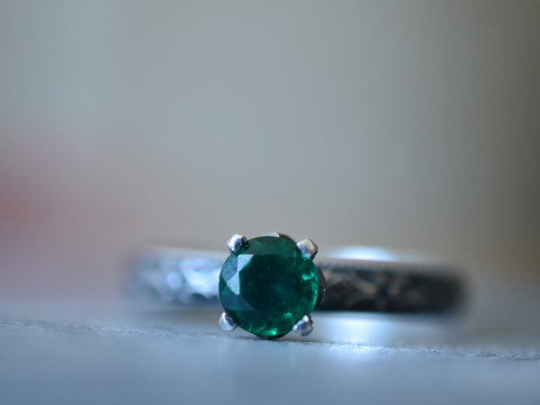 Gothic Emerald Solitaire Engagement Ring in Oxidised Silver