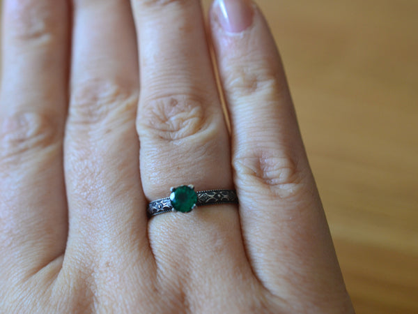 Personalised Emerald Engagement Ring in Gothic Silver