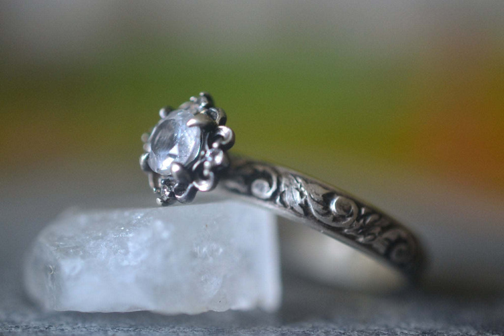 Gothic White Topaz Multi Stone Engagement Ring in Silver