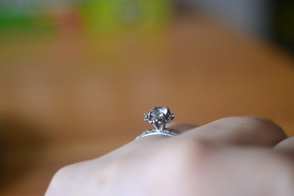Natural White Topaz Engagement Ring in Gothic Oxidised Silver