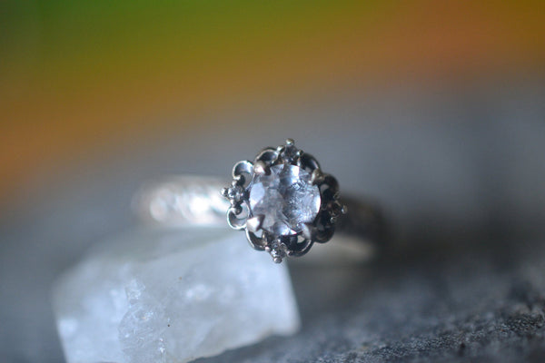 White Topaz Solitaire Engagement Ring in Renaissance Style