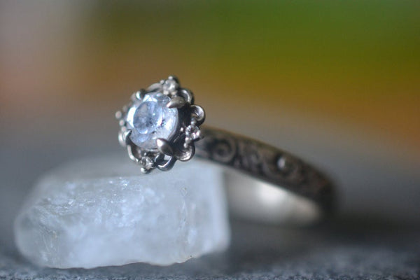 Personalised Gothic White Topaz Crystal Engagement Ring