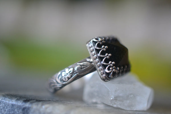 Personalised Obsidian Crystal Ring in Oxidised Sterling