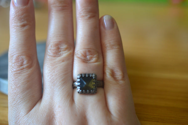 Natural Obsidian Pyramid Ring in Oxidised Floral Silver