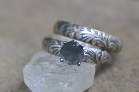 Gothic Grey Moonstone Wedding Band Set