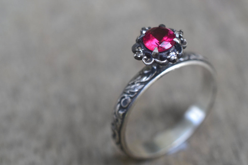 Gothic Ruby Engagement Ring With White Topaz