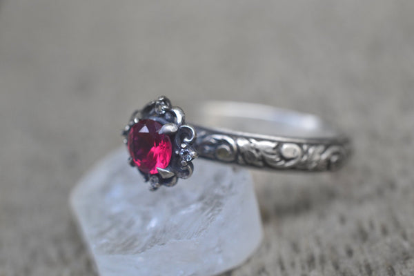 Ruby & White Topaz Multistone Engagement Ring