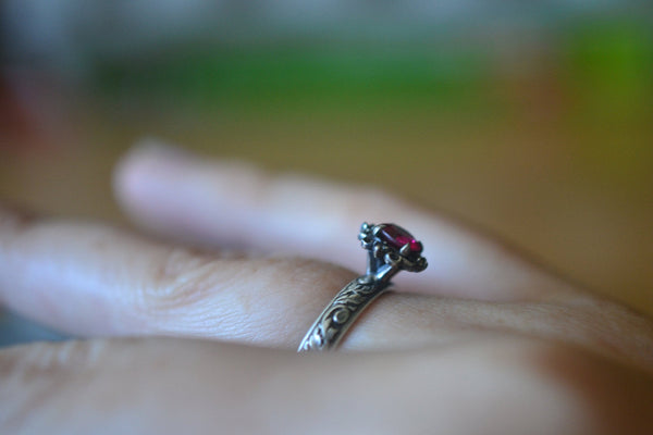 Renaissance Ruby Engagement Ring in Oxidised Silver
