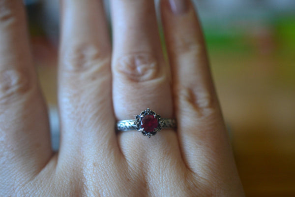 Ornate Ruby Engagement Ring in Oxidised Silver