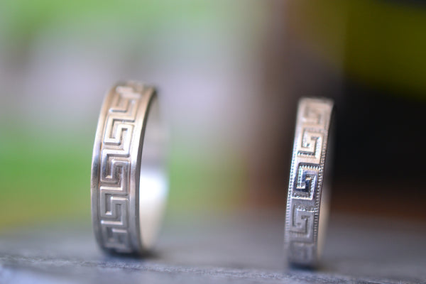 Couples Commitment Ring Set With Greek Key Design