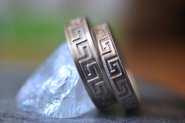 His & Hers Couples Ring Set With Greek Key Pattern