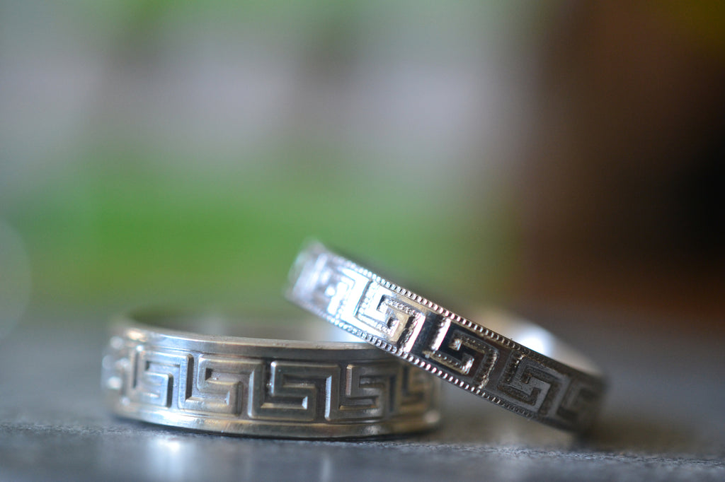 Couples Greek Key Wedding Ring Set in Sterling Silver