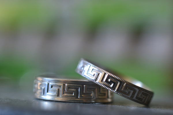 Couples Greek Key Wedding Band Set With Engraving