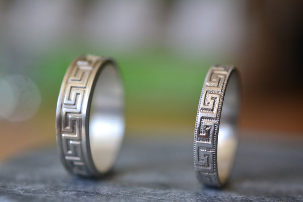 Handmade Couples Greek Key Wedding Band Set in Sterling Silver
