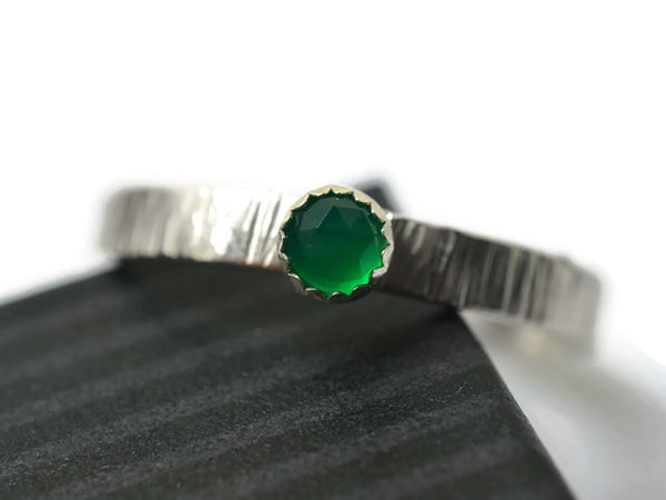 Personalized Sterling Silver Tree Bark Green Onyx Ring