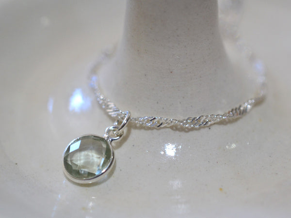 Dainty 8mm Green Quartz Pendant with Silver Chain