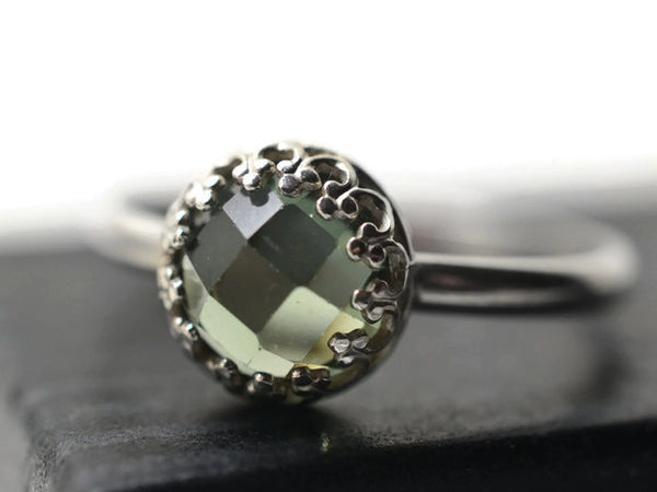 Sterling Silver & Green Spinel Engagement Ring