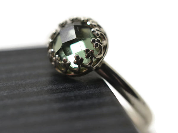 Handmade Silver & Green Spinel Engagement Ring