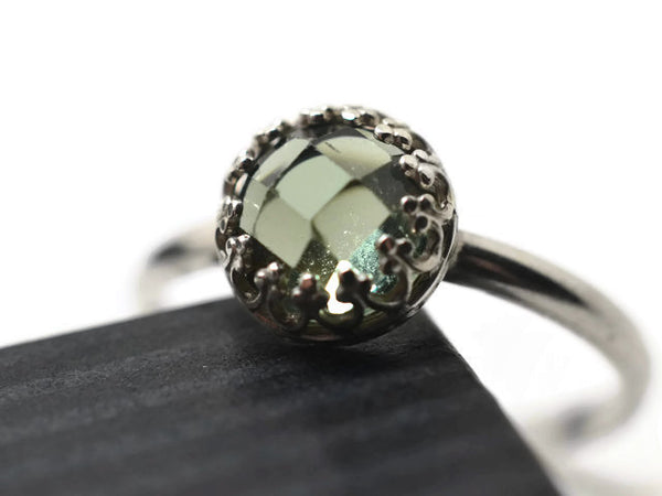 Handforged Silver Green Spinel Engagement Ring