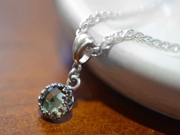 Dainty Green Spinel Pendant in Sterling Silver