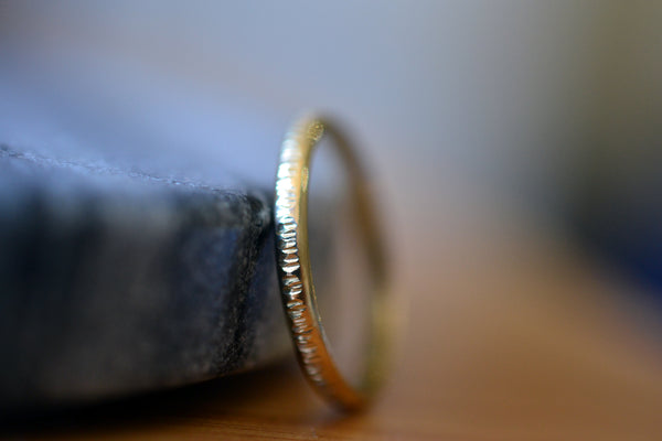 Dainty Hammered 2mm Wide 18K Yellow Gold Wedding Band