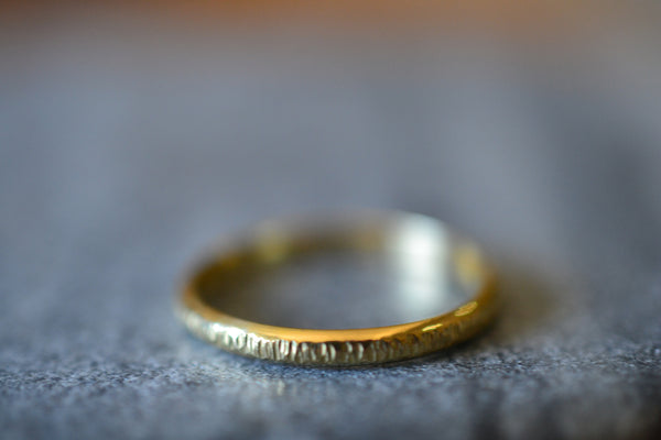 Hammered 18K Yellow Gold Tree Bark Wedding Band