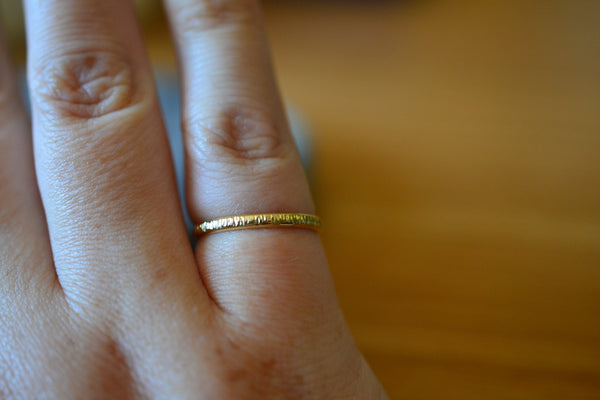 Simple Hammered 18ct Yellow Gold Wedding Band