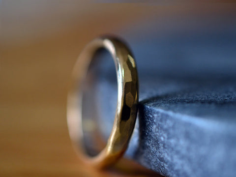 Men's Solid 14K Yellow Gold Hammered Wedding Band