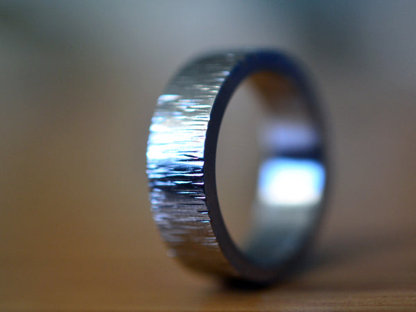 Hammered Tree Bark Style Stainless Steel Wedding Band
