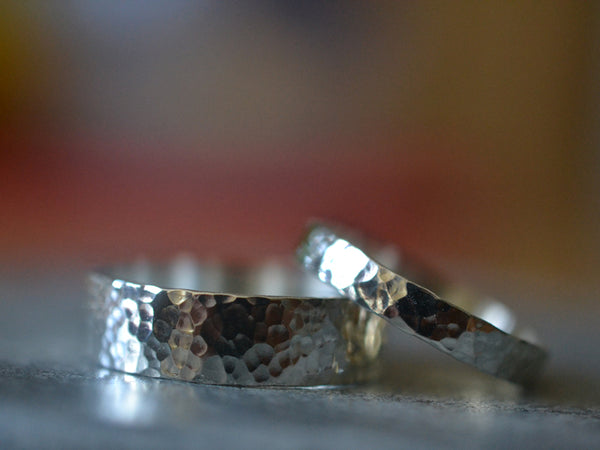 Hammered Sterling Silver Wedding Band Set