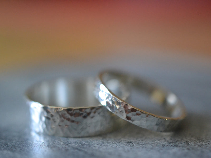 Hammered Sterling Silver Wedding Band Ring Set For Couples