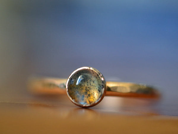 Blue Fire Labradorite Engagement Ring in 14K Yellow Gold