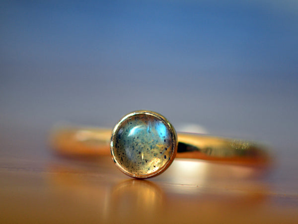 Handforged Recycled 14K Yellow Gold Ring With Labradorite