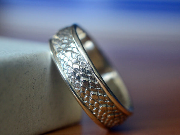 Handmade Sterling Silver Dragonscale Wedding Band