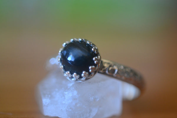 Natural Blue Hawk's Eye Statement Ring in Sterling Silver