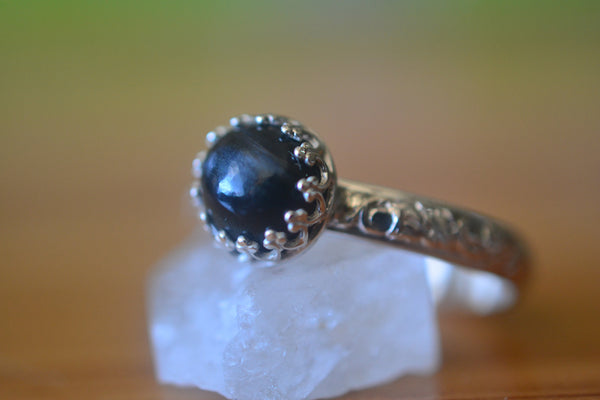 Blue Tiger's Eye Ring in Sterling Silver