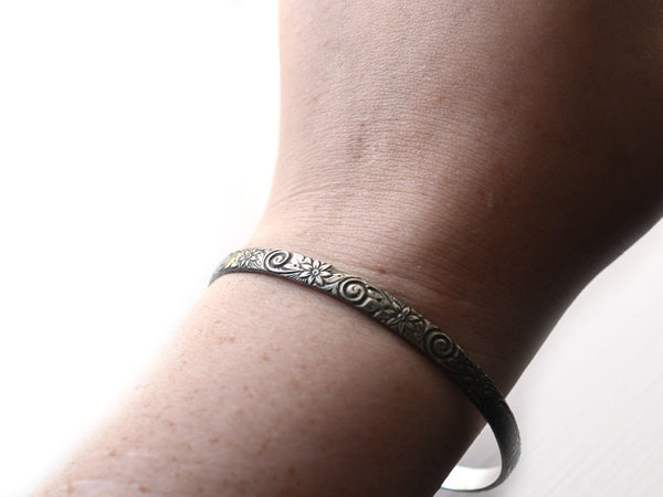 Handmade Oxidised Silver Carved Flower Stacking Bangle