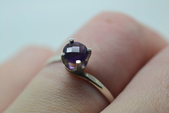 Handmade African Amethyst Solitaire Ring