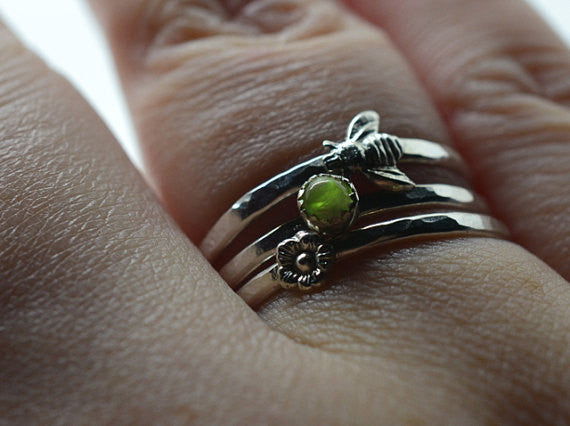 Gemstone Flower and Bee Stacking Rings