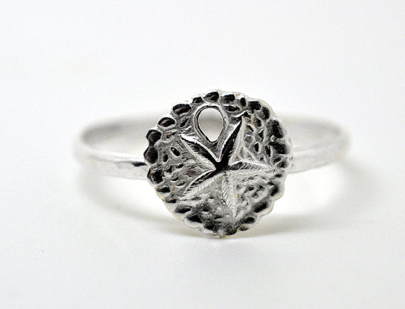 Personalised Sterling Silver Sand Dollar Ring