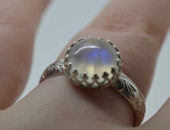 Customised Floral Silver Blue Moonstone Engagement Ring