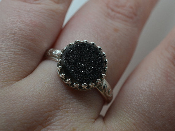 Handmade Engravable Renaissance Style Black Drusy Agate Ring