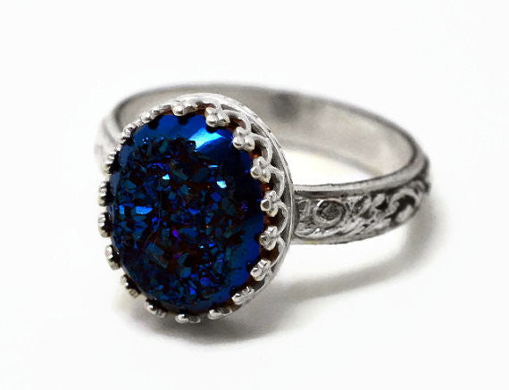 Renaissance Style Floral Silver Midnight Blue Druzy Statement Ring