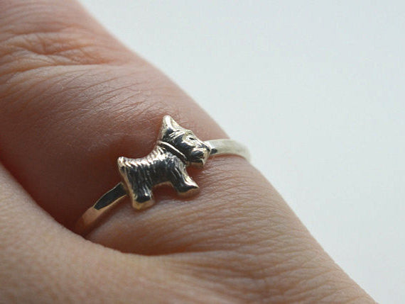 Handcrafted Sterling Silver Scottie Dog Ring