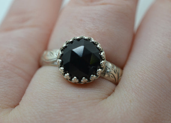 Handmade Personalise Floral Silver Black Spinel Ring