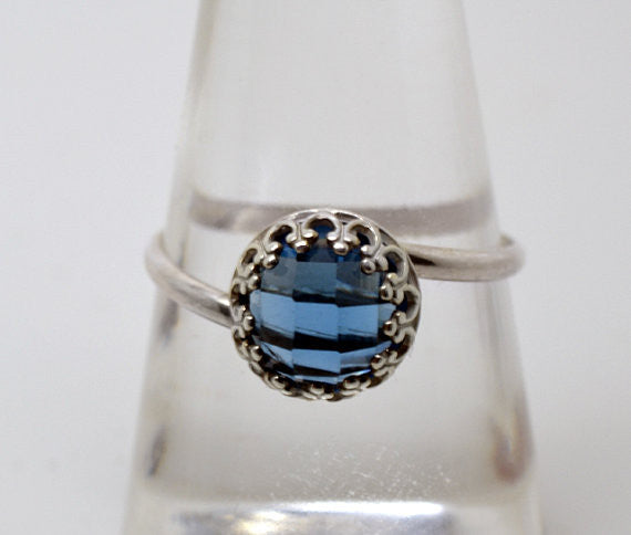 Handmade Blue Spinel Twist Ring in Sterling Silver