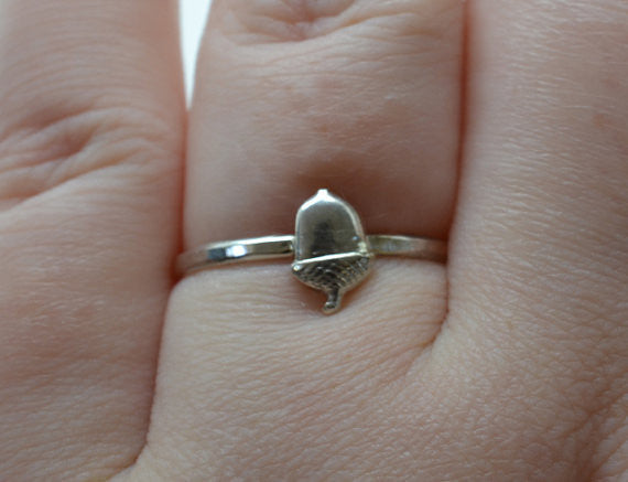 Handmade Sterling Silver Acorn Charm Ring