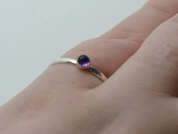 Stackable Sterling Silver & 3mm Amethyst Ring