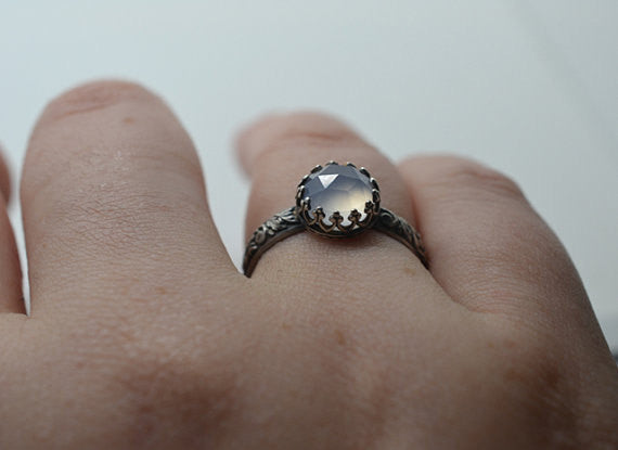 Handmade Oxidized Floral Silver Blue Chalcedony Engagement Ring